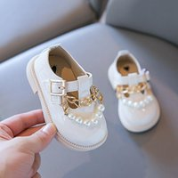 First Walkers Girls Toes-capped Walker Shoes Kids Western Style Single Soft Sole Princess Leather Metal Chain Baby Shoe