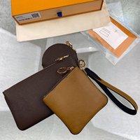 Trio Bolsa Carteira Mulheres Moedas Bolsas Luxurys Designers Marca Single Zipper Carteiras 3 Peças Genuíno Couro Embreagem Sacos Bolsas