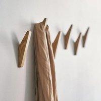 Hooks & Rails Creative Natural Wood Clothes Hanger Wall Mounted Coat Hook Home Decor Key Holder Hat Scarf Handbag Storage Bathroom Rack