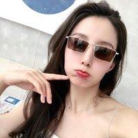 Sunglasses Women Vintage Narrow Small Metal Frame Sun Glasses Rectangle Driving Eyeglasses Fishing Eyewear Men 2021