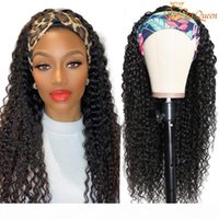 Water Wave Wig Natural Color Headband Wig Scarf Wig 150% Density Brazilian Water Wave Human Hair Wigs For Women