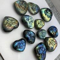 Gift Natural Gem Labradorite Carving Smiling Heart lip Tortoise Crystal Stone Quartz Figurine Energy Healing Home Decoration