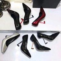 Designer Heel Women Shoes Patent Läder Klänning Bröllop Spetsade Damer Sexig Höghälsad Sko 100% Cowhide Ankelband Pumpar Metal Fashion Woman Heels 34-40-41 US4-US10