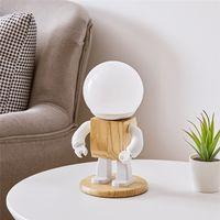 Mignon robot nordique moderne bois table lampe LED enfants bébé fille garçon enfant chambre de chevet mini nuit