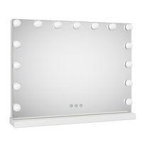 Espelho de maquiagem de vaidade com lâmpadas dimmer, 23x17 polegadas de hollywood luzes de mesa cosméticos ou 3 modos espelho de parede de controle de toque inteligente, branco