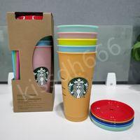 24oz / 710 ملليلتر بهلوان أكواب قابلة لإعادة الاستخدام شرب شقة أسفل عمود شكل غطاء القش القدح ستاربكس لون تغيير كوب بلاستيكي 5 قطع