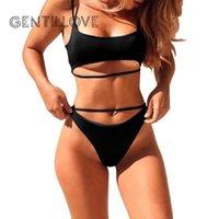 Gentillove Kadın Hollow Out Mayo Seksi Çapraz Mayo Kadınlar Push Up Plaj Giyim Moda 2 Parça Set Bikini 2021 Bayan Eşofmanlar