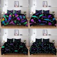 Bedding Sets Shiny Halloween Bats Set Colorful Duvet Cover Kids Boys Children Cat Quilt Twin Single Double Sizes Pillow Case