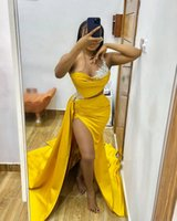 Custom Made Yellow Evening Dresses With Beaded African Women Prom Gowns One Shoulder Dinner