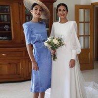 Blue Sheath Short Bridesmaid Dresses Jewel Neck Half Sleeve Side Split Maid of Honor Gown Satin Column Wedding Guest Dress