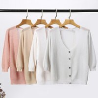 Candy Color Knitted Cardigans Women Summer Three Quarter Sleeve Basic Casual Cardigan Sweaters Female Short Knit Jumper Top Women's Knits &
