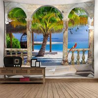태피스트리 3D 인쇄 숲과 산 풍경 홈 장식 안개가 자욱한 덮개에 매달려 태피스트리 벽