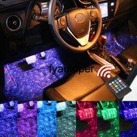 4Pcs set LED Strip Atmosphere Lamp Music voice control Car Interior Foot Light USB Cigarette lighter RGB LED Bulb