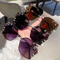 2021 Luxury Rhintone Sunglass Women Cut Edge Metal Polygon Sun Glass Fashion Shad for Female Driving Glass