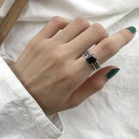 Cluster Rings Rock Authentic S925 Sterling Silver Fine Jewelry 2rows Roped Twisted & Open Chain Square Black Agate Adjustable J302