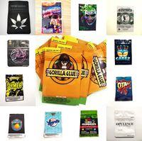 Packtaschen Gorilla-Kleber-Taschen-Edibles-Tasche Mylar California BB-Koch 3,5g Verpackung Riesige-Proof-Paket mit Ziplockorange Prllezino-Opulenz