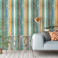 Vintage Akdeniz Renk Duvar Kağıtları Papel Tapiz Autoadhesivo Ahşap Tahıl Dekorasyon Salon De Pared 3D Ev Duvar Çıkartmaları