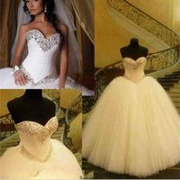 2021 Free Ship Formal Ball Gown Wedding Dresses Sequins Crystals Sweetheart Bridal gowns Puffy Romantic Tulles skirt wedding