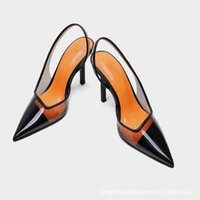 Sandals Plastic Sandal Female Shoe 2021 Women's Shallow Mouth High Heels Large Size Transparent Girls High-heeled Low Big Pointed Fa