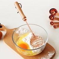 Rose Gold Beech Metal Ovo Beaters com Misturador de Madeira Misturador Cozinha Ferramentas Misturador de Ovos Misturador Foramer Creme Whisk Utensílio GWF6201