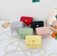 Designer kids macaron pearl chain handbag girls flower embossing one shoulder bags luxury children square Crossbody Bag A7214