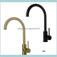 Kitchen Faucets Faucets, Showers & Accs Home Garden Water Tap Brushed Gold Black Faucet Single Handle Rotation Classical Sink Mixer Dr
