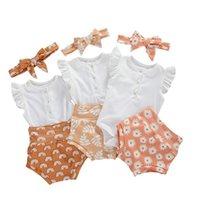 Giyim Setleri Pudcoco 0-18 M Doğan Bebek Çocuk Bebek Kız Erkek Giysileri 3 ADET Fırfır Kol Knit Romper Üst + Baskı Şort + Kafa Kıyafetler