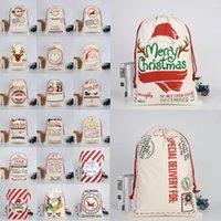 Bolsos Regalos de Navidad Monogramables Sacos de cordón DHL Santa Navidad con lienzo Lienzo grande Santa Claus Bolsa Bolsa Renajes Shippi Cujg