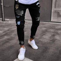 بيع الرجال مصمم جينز الأسود الرجال عارضة الذكور جان نحيل دراجة نارية جودة عالية الدنيم السراويل