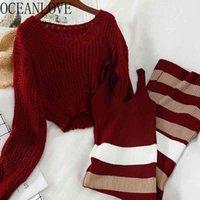 Oceanlove Весна двух частей набор полосатые моды сплошные пуловеры + полосатые трикотажные платья Кореакан Винтаж 2 шт. Набор женщин 16436 210407