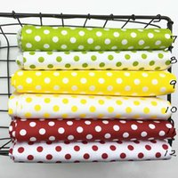 100% cotton twill cloth GREEN YELLOW MAROON polka dot 0.8cm fabrics for DIY bedding handwork tablecloth quilting patchwork craft