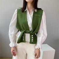LANMREM Profil Şal Örgü Sokak Giyim Katı Moda Kolsuz Hırka Çeşitli Şekiller ile 2A398 210806