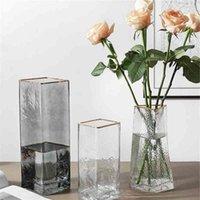 Modern Cam Çiçek Vazo Hemmed Kristal Çiçek Vazo Masa Orta Öğeleri Ev Ofis Toptan