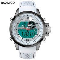 Boamigo Brand Men Sport Watch Wates White Multifunction LED цифровые аналоговые кварцевые наручные часы Резиновая полоса 30 м водонепроницаемый X0524