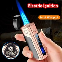 Cigar Torch Lighter with Punch Electric Ignition Triple Flame Jet Lighters Inflatable Touch Sensing Windproof Power Display H0916