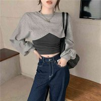 Women's Hoodies & Sweatshirts Korean style real women's shooting spreader niche design short of long sleeves sweater+ base vest two-piece assembly PUQI