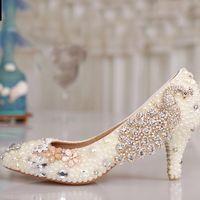 ドレスシューズ高級カラフルなクリスタルラインストーンポンプパーティープロム卒業式女性子猫ヒール白真珠の結婚式
