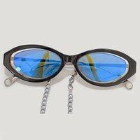 Sunglasses Vintage Oval Women Sexy Retro With Pearl Chain Mirror Sun Glasses Brand For Female