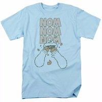 Sesame Street Nom Nom T Shirt رجل مرخص الكلاسيكي تلفزيون كوكي الوحش الضوء الأزرق