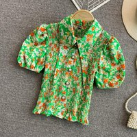 Women's Blouses & Shirts Vintage Blusa Elastic Beach Crop Tops Women Summer Fashion Lapel Collar Puff Sleeve Floral Printed Short And
