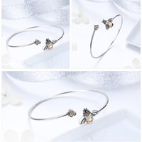 BAMOER 925 Sterling Silver Crystal Bee And Honeycomb Women Silver Bracelets Bangles for Women Sterling Silver Jewelry SCB104 1086 T2