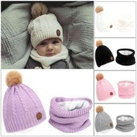 20SETs DHL Twist Crochet Knit Fur Pom Pom Beanies Winer Kids Hat Set Baby Infants Fleece Slouchy Skull Caps and Scarf Neck Warmer Earwuffers 2 Piece Suit G00QO41