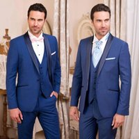 Men's Suits & Blazers Classy Handsome Royal Blue Tuxedos Slim Fit Mens Wedding One Button Groom Wear Three Pieces Formal Suit (Jacket+Pants+