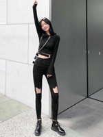 Women's Jeans Ladies Fashion All-Match Casual Stretch Pants High Waist Sweet Loose Ripped Skinny Denim Black Cropped
