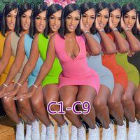Frauen Kleider Designer Sexy Slim Sleeveless Casual Reißverschluss Solide Farbe Rock Plus Größe mehrerer Farben Langes und Kurzarm Kleid 69 Arten