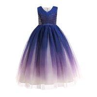 Girls Dresses Kids Clothes Children Clothing Long Lace Wedding Flower Dance Pageant Formal Dress Wear Ball Gown B8234