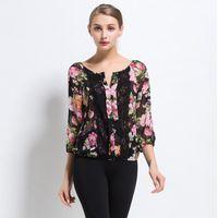 Women's Blouses & Shirts Arrivals 2021 Spring Summer 3 4 Sleeved Chiffon Blouse Fashion Women Shirt Elegant Slim Office Lady