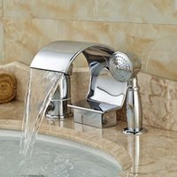 Cascada cromada pulida bañera de latón mezclador grifo grifo mango de una sola tina romana llenadora con handshower conjuntos de ducha de baño
