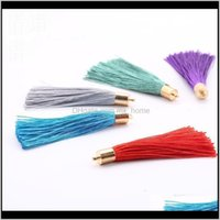 Arts And Crafts 20Pcs Lot 23 Colors 6Cm Long Cotton Silk Cords For Earrings With Metal Caps Charm Pendants Tassel Jewelry Making Findi Y8Jef