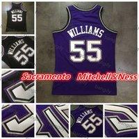Mitchellness Basquetebol Mens Vintage Jason 55 Williams Jersey Malha Full Dense Au Costurado Malha Embroidery Logotipos Costura Stock Camiseta Preto